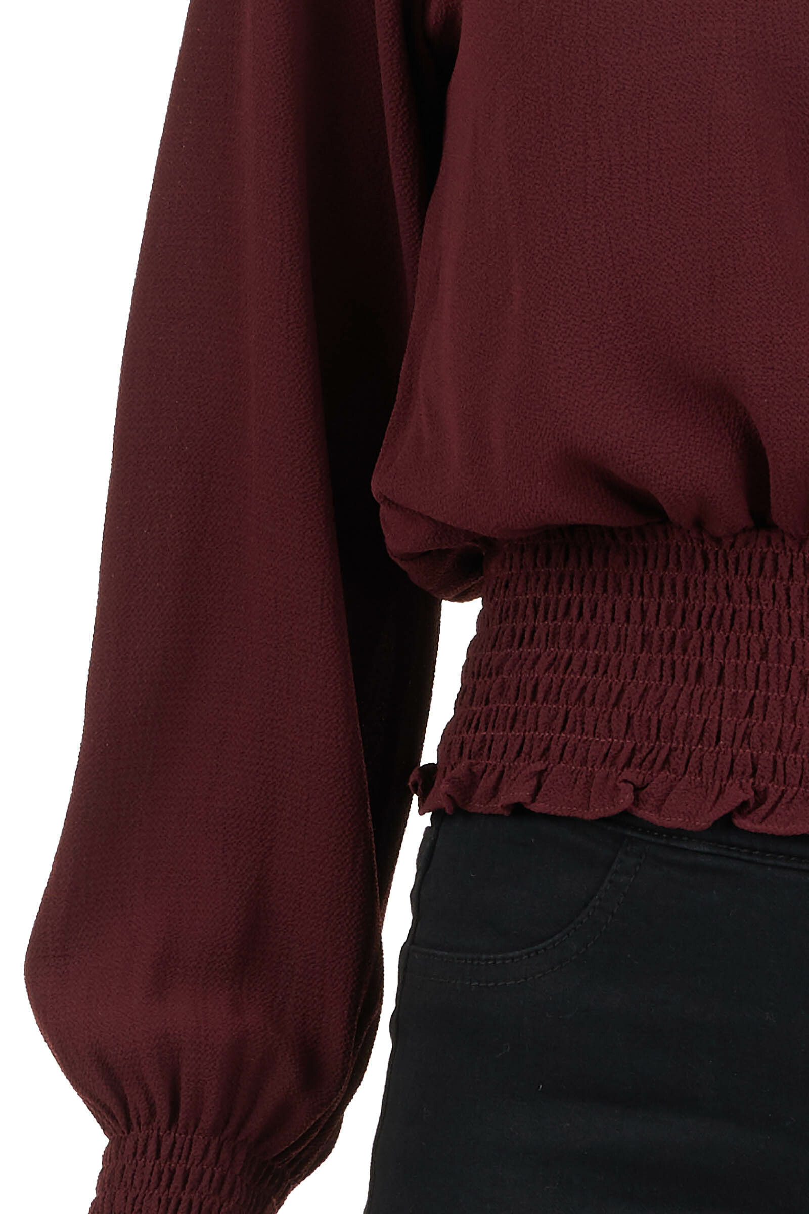 Burgundy High Neck Top with Smocked and Ruffle Details detail