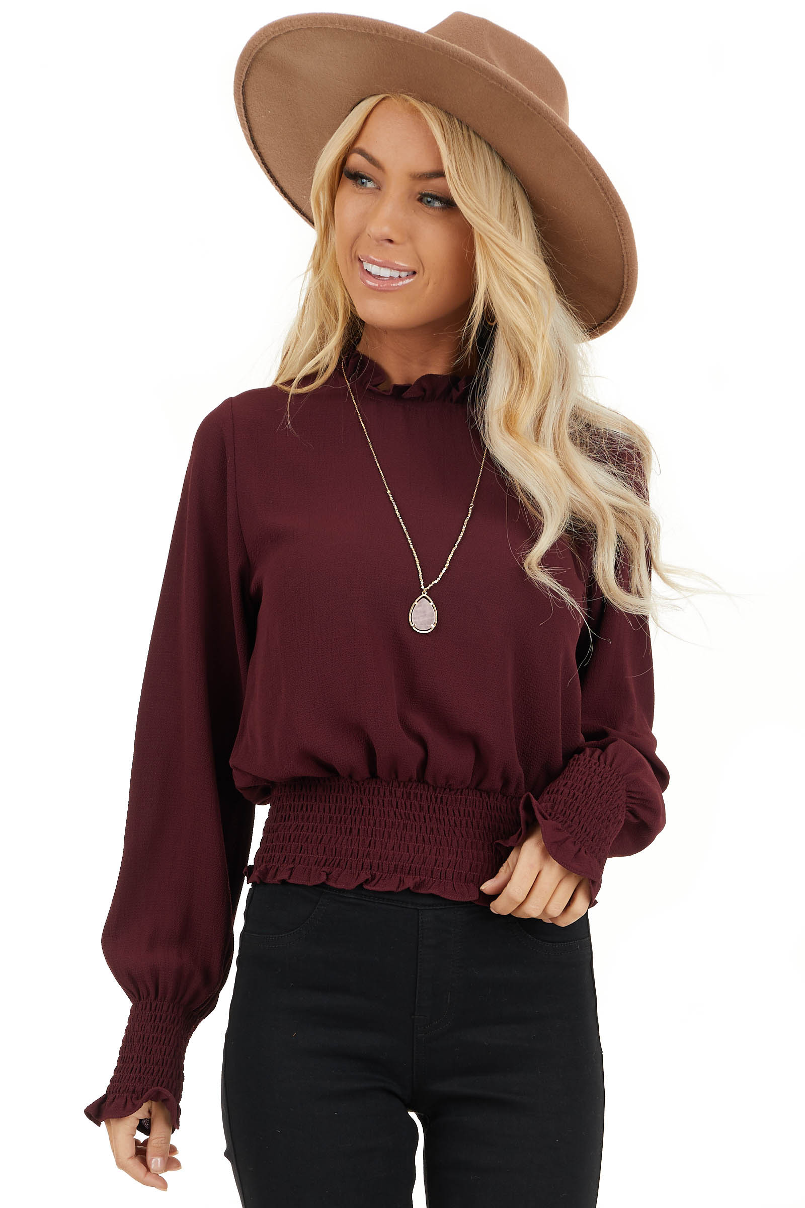 Burgundy High Neck Top with Smocked and Ruffle Details front close up