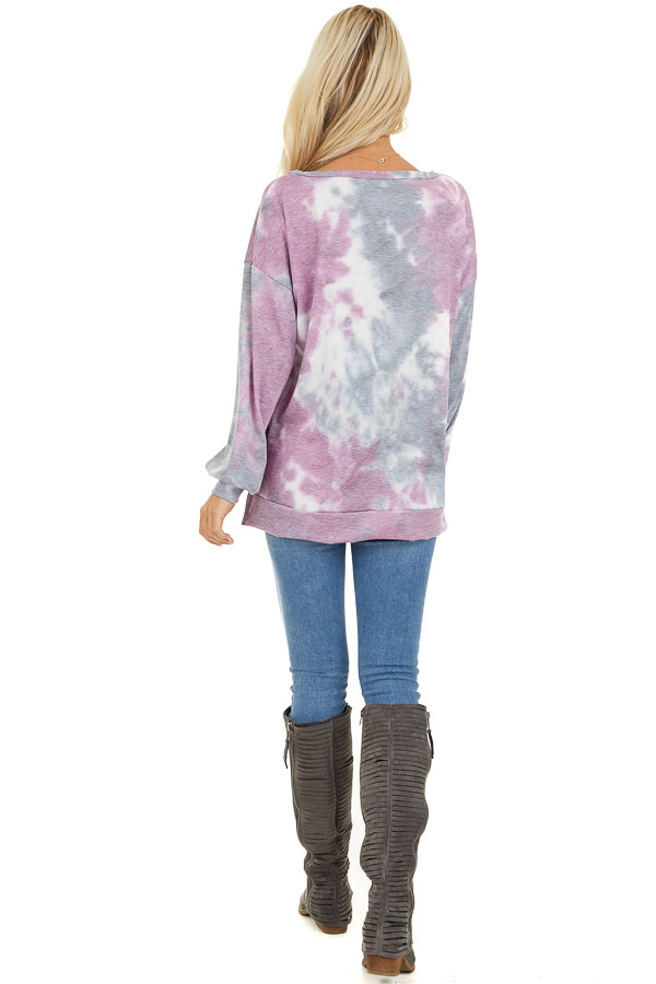 Lilac and Charcoal Tie Dye Long Sleeve Top back full body