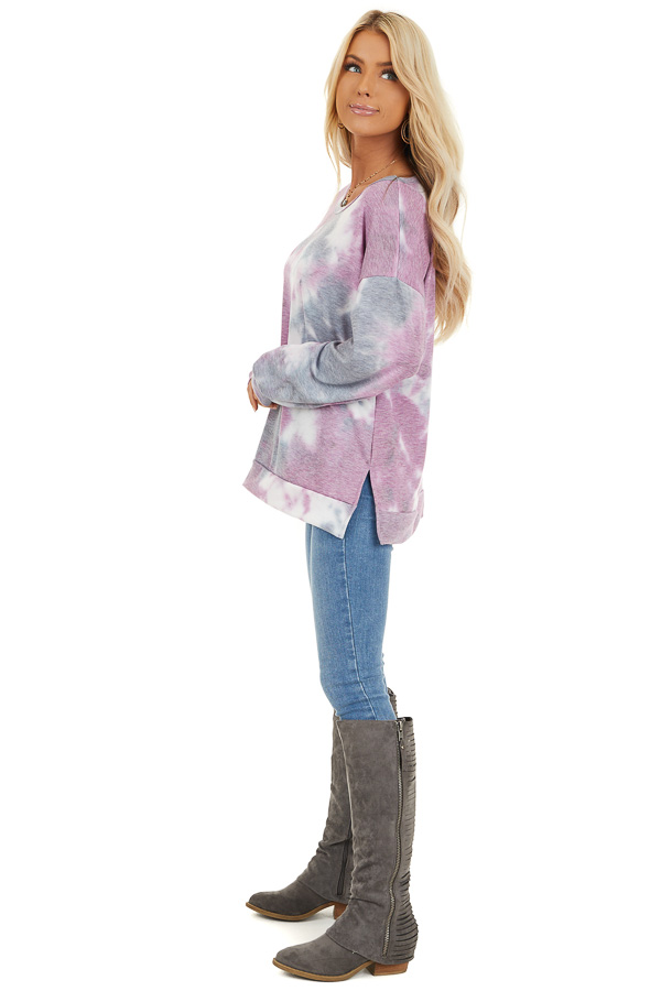 Lilac and Charcoal Tie Dye Long Sleeve Top side full body