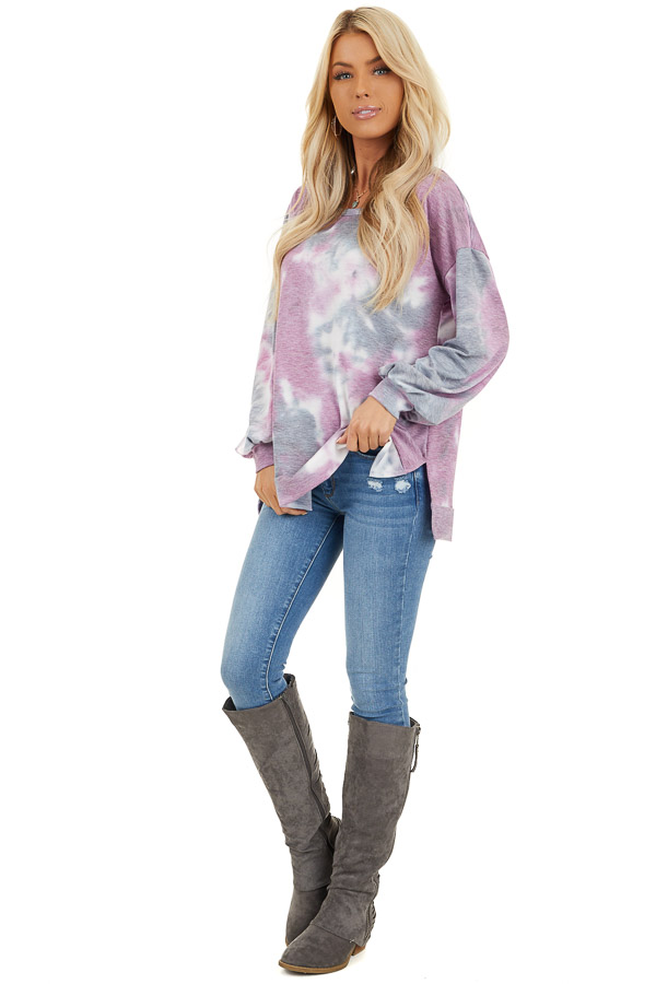 Lilac and Charcoal Tie Dye Long Sleeve Top front full body