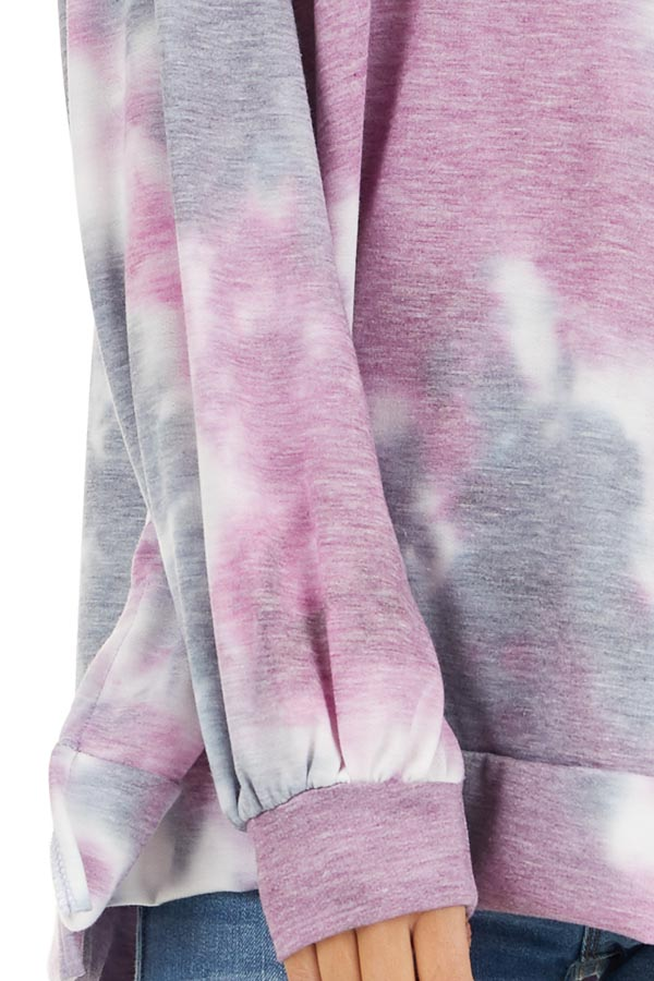 Lilac and Charcoal Tie Dye Long Sleeve Top detail