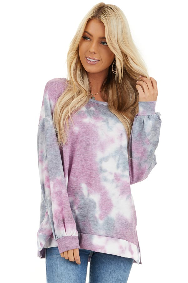 Lilac and Charcoal Tie Dye Long Sleeve Top front close up