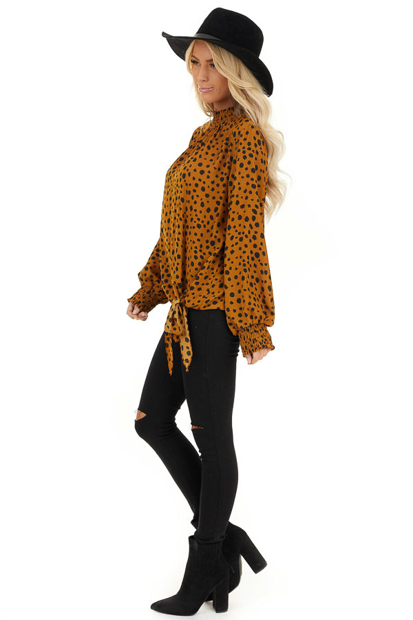 Caramel Cheetah Print Top with Smocked Mock Neck side full body