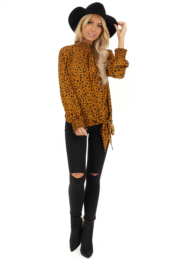 Caramel Cheetah Print Top with Smocked Mock Neck front full body