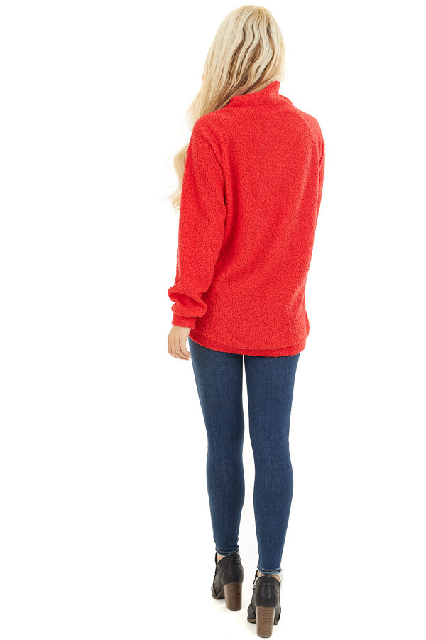 Bright Red Long Sleeve Sweater with Layered Detail back full body