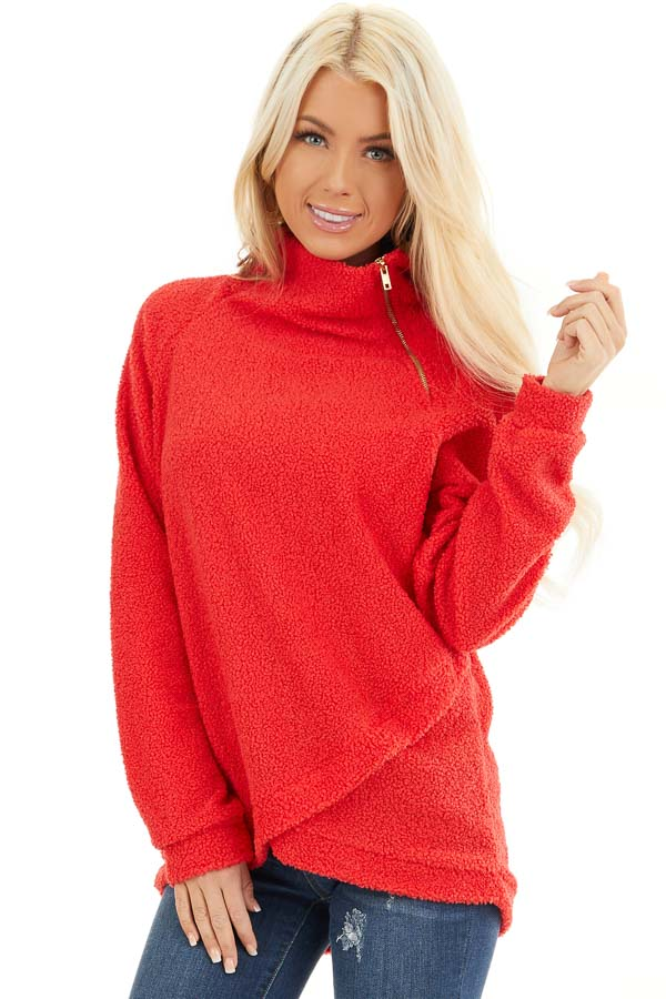 Bright Red Long Sleeve Sweater with Layered Detail front close up