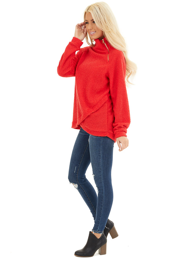 Bright Red Long Sleeve Sweater with Layered Detail side full body