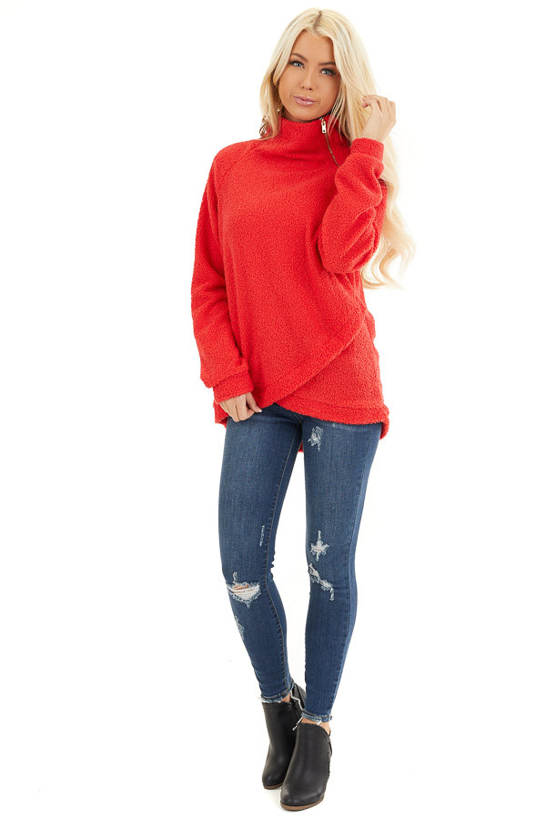 Bright Red Long Sleeve Sweater with Layered Detail front full body