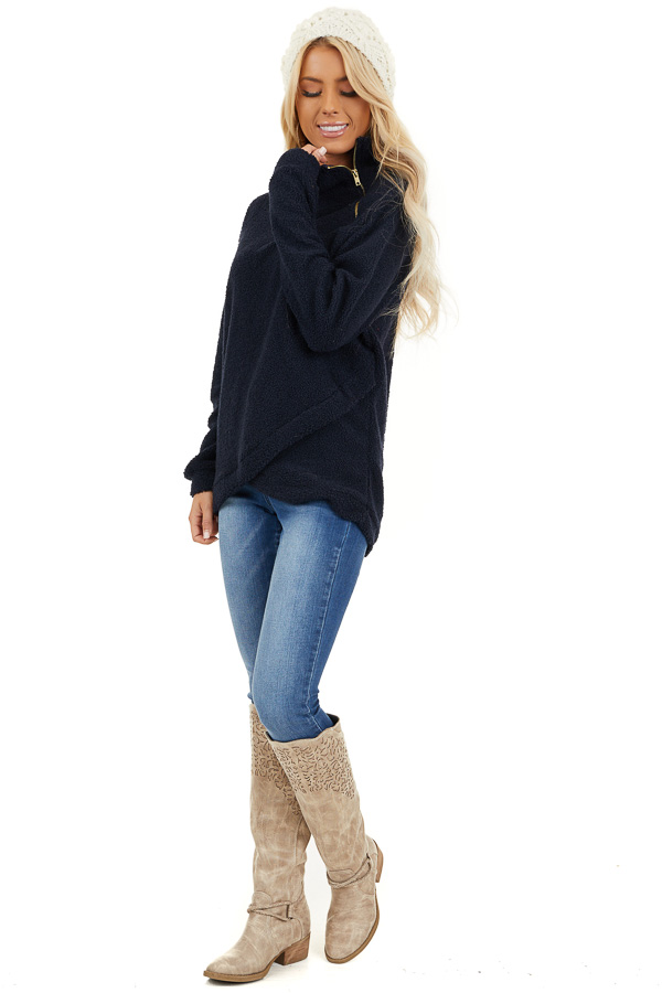 Midnight Navy Long Sleeve Sweater with Layered Detail side full body