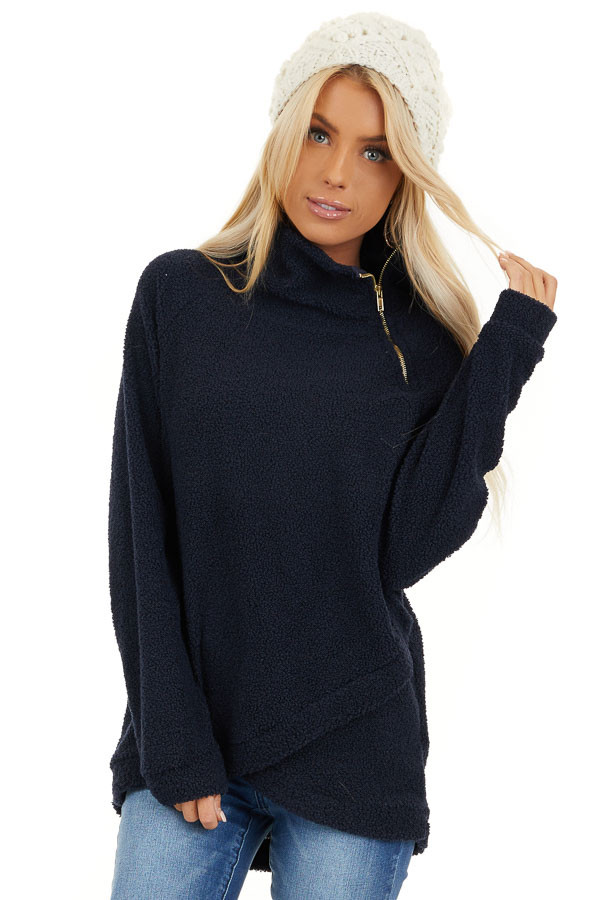 Midnight Navy Long Sleeve Sweater with Layered Detail front close up