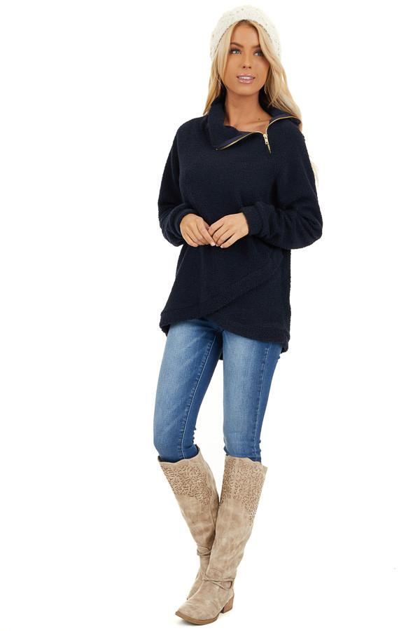 Midnight Navy Long Sleeve Sweater with Layered Detail front full body