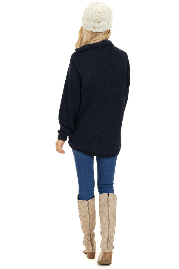 Midnight Navy Long Sleeve Sweater with Layered Detail back full body