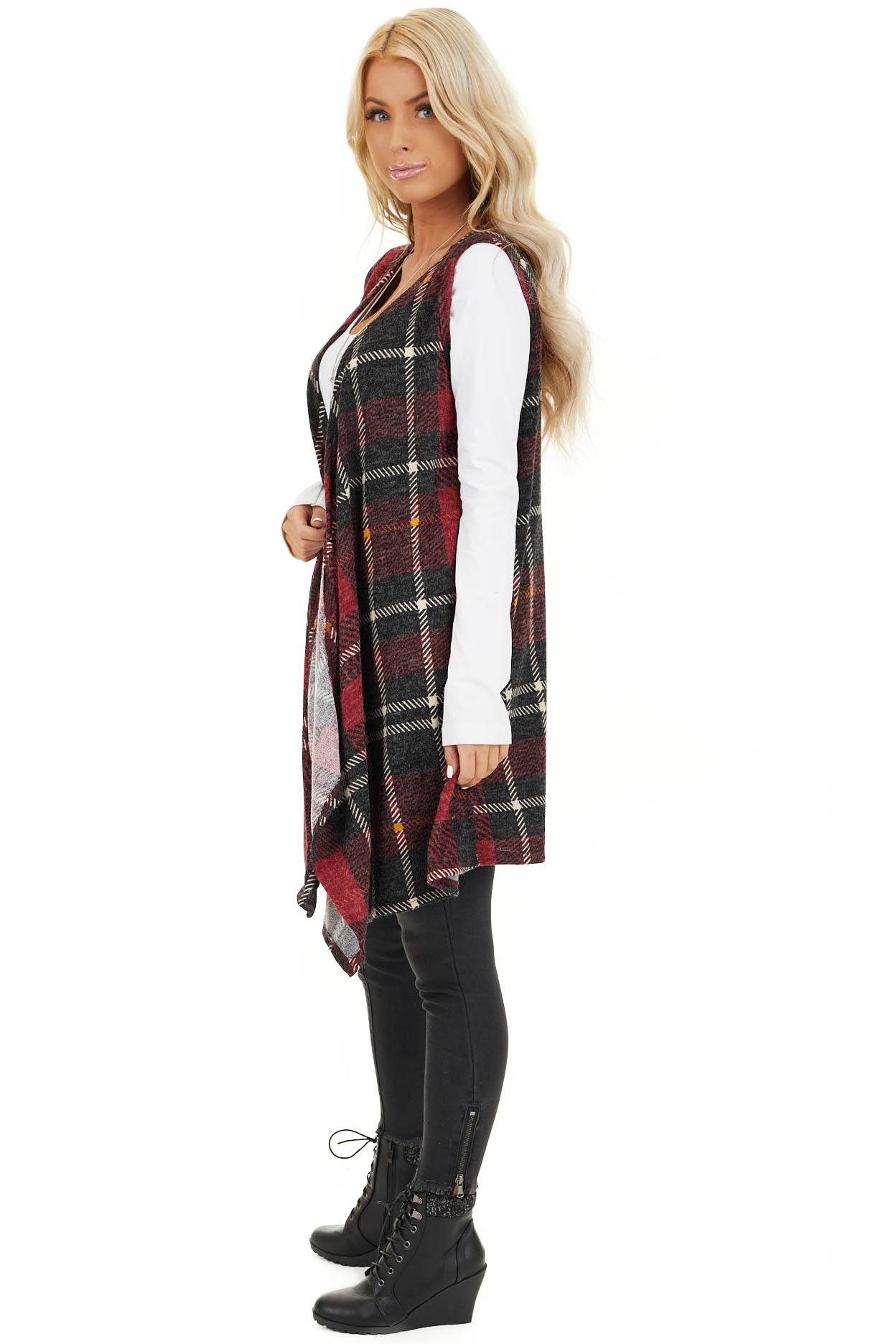 Candy Apple and Black Plaid Open Front Vest side full body
