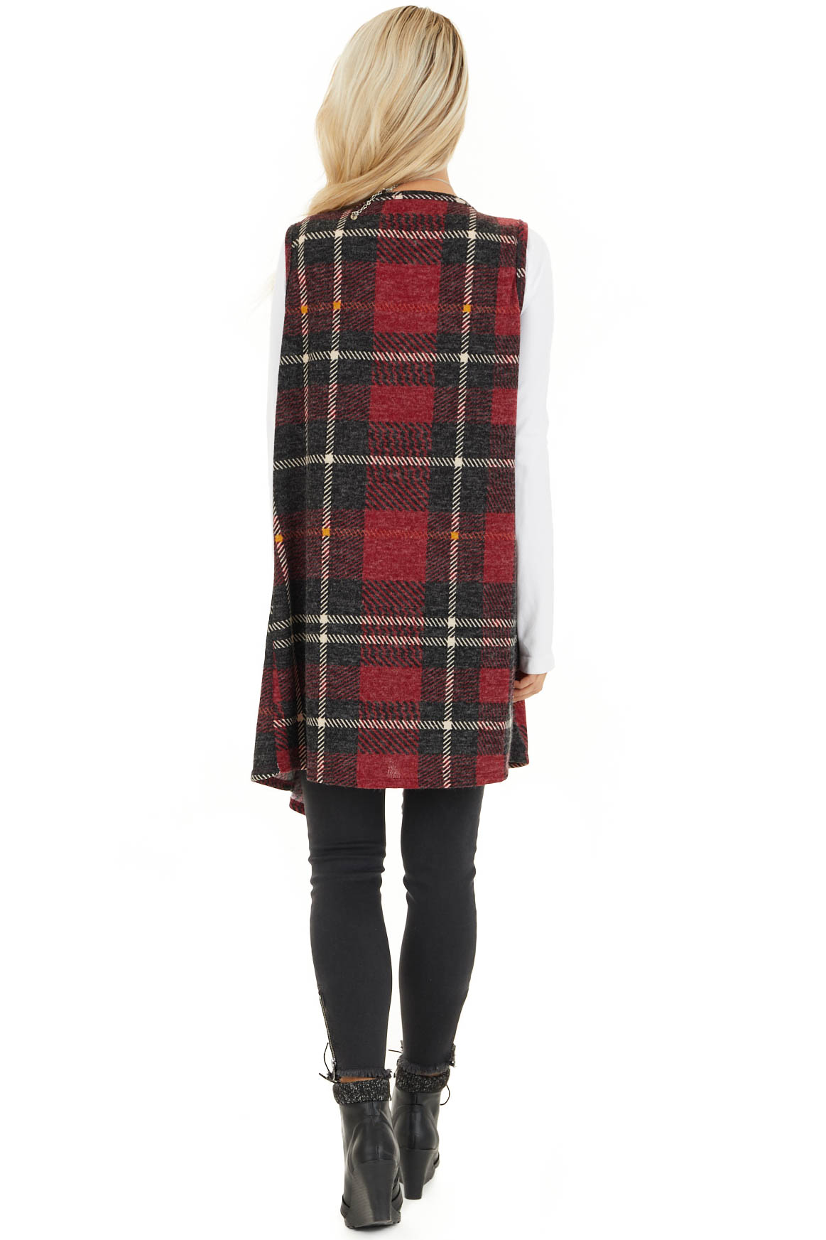 Candy Apple and Black Plaid Open Front Vest back full body