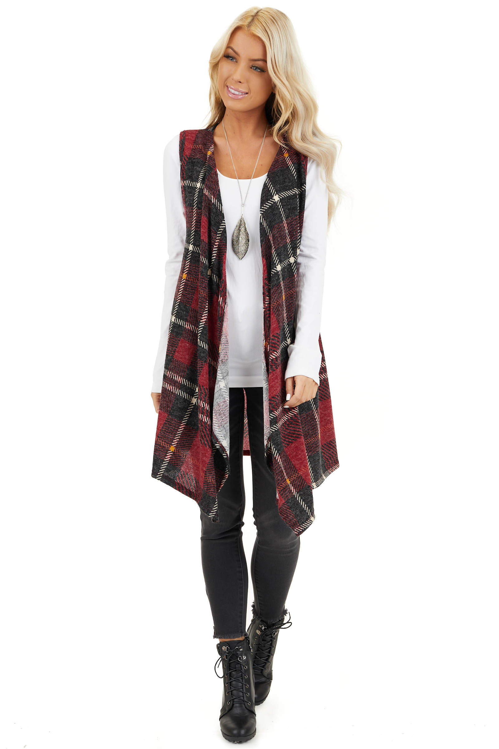 Candy Apple and Black Plaid Open Front Vest front full body