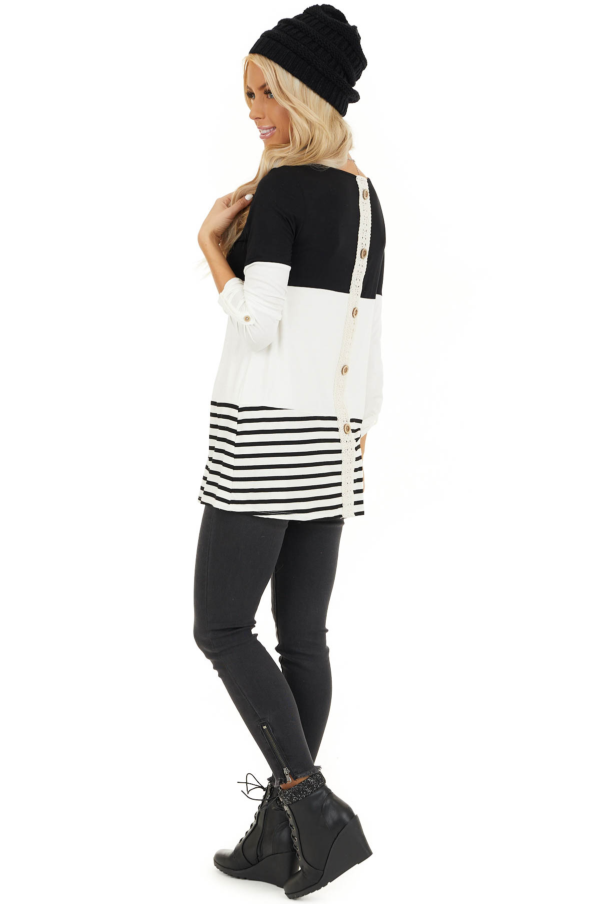 Black Color Block Top with Stripes and Crochet Lace Detail side full body