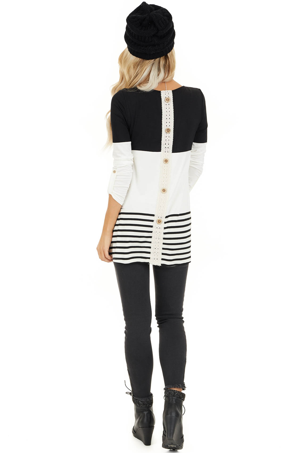 Black Color Block Top with Stripes and Crochet Lace Detail back full body