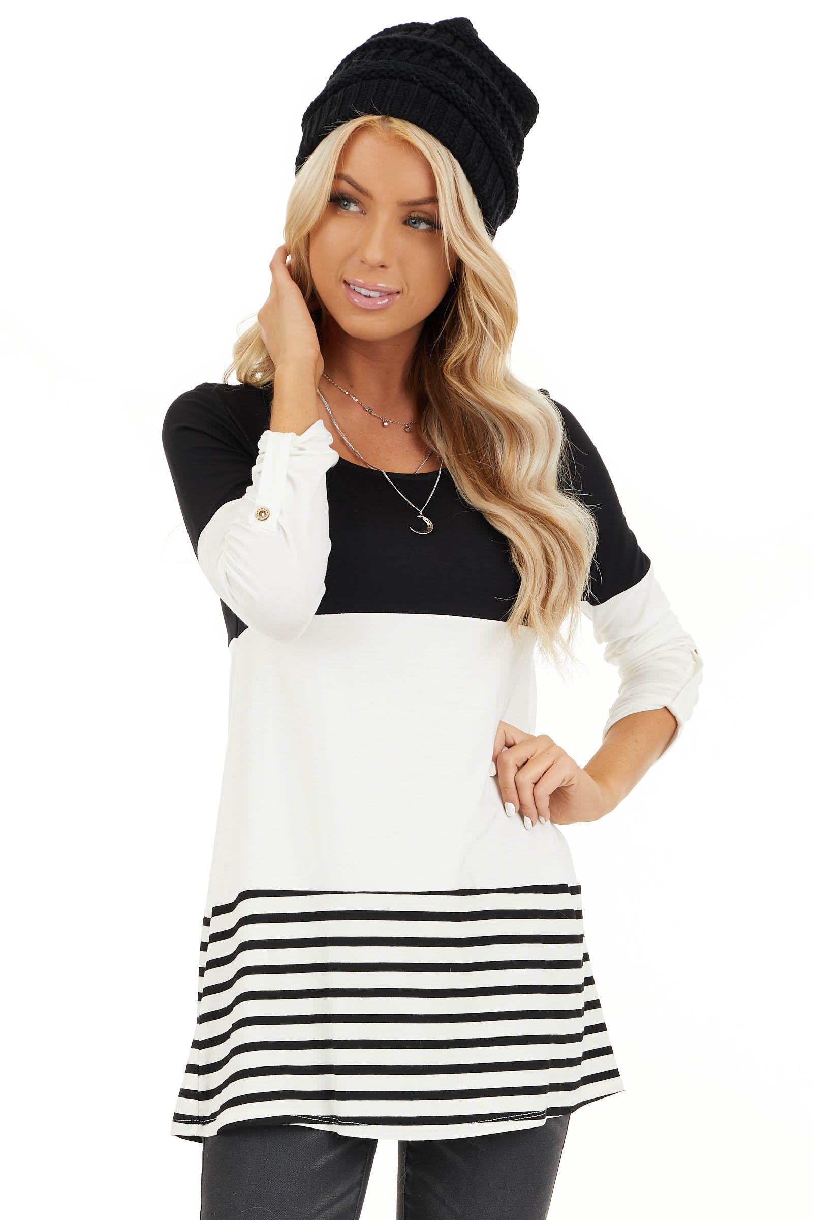 Black Color Block Top with Stripes and Crochet Lace Detail front close up