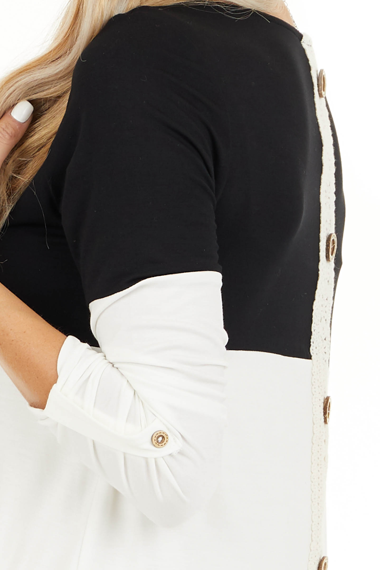Black Color Block Top with Stripes and Crochet Lace Detail detail
