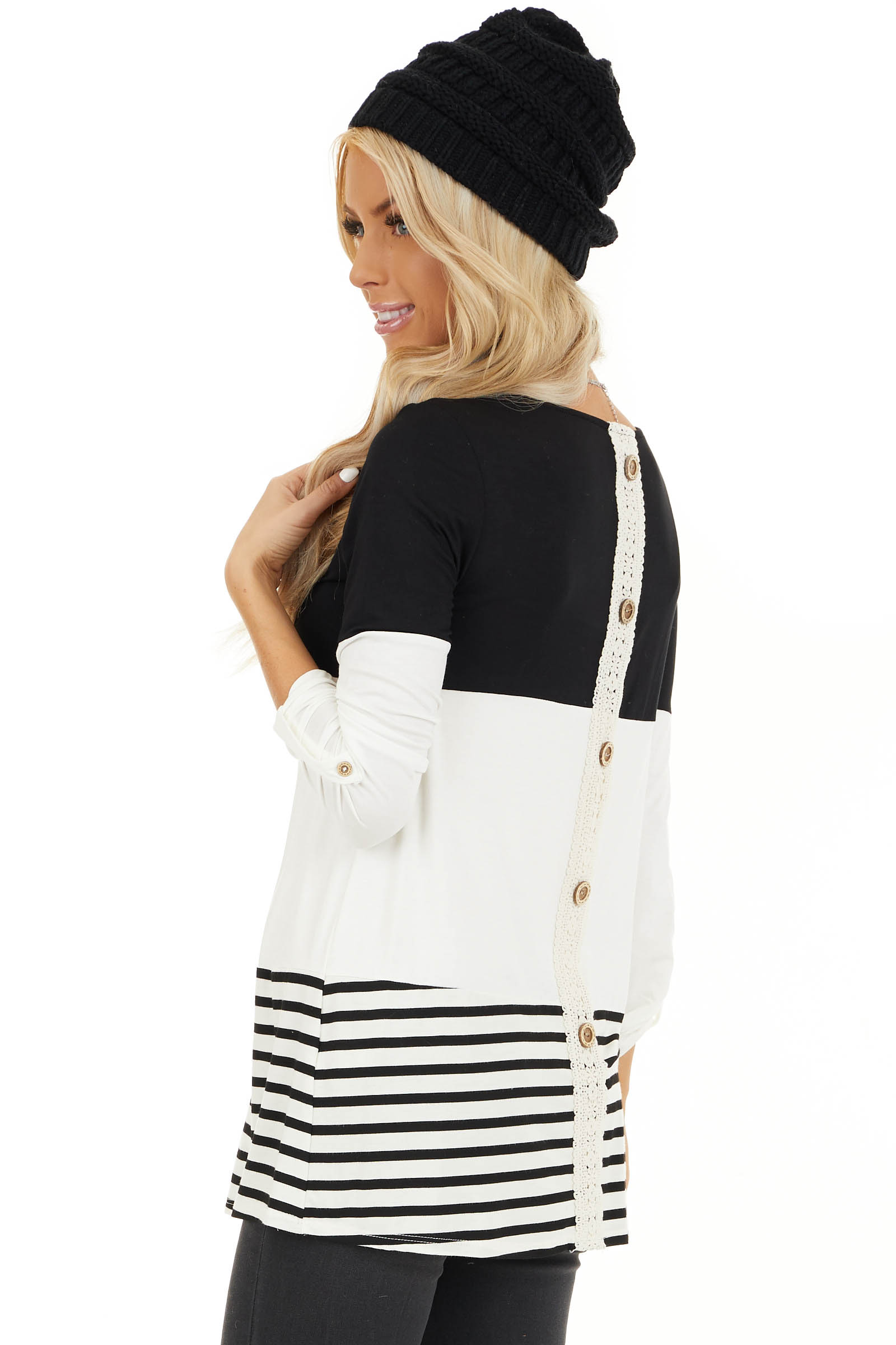 Black Color Block Top with Stripes and Crochet Lace Detail back side close up