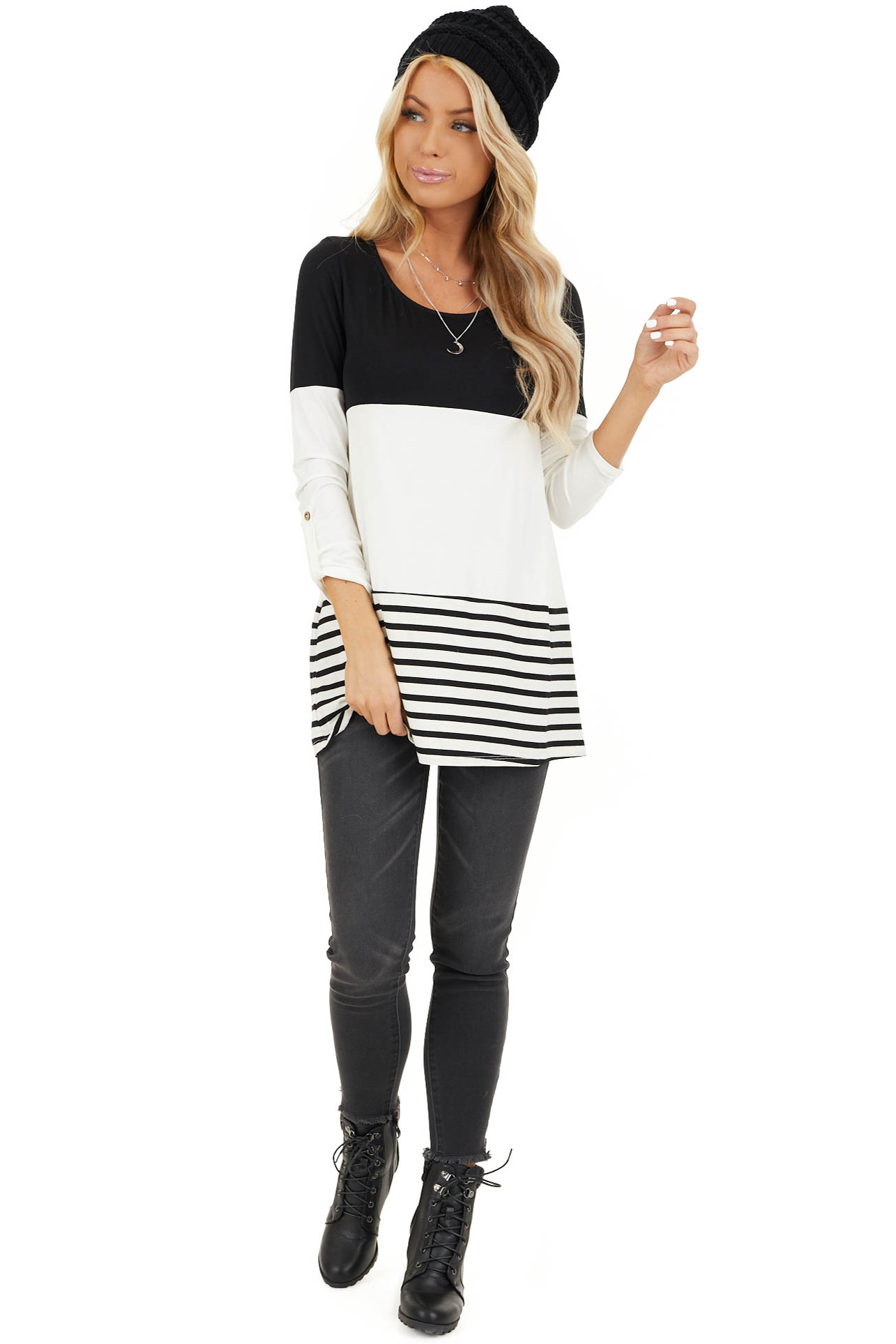 Black Color Block Top with Stripes and Crochet Lace Detail front full body