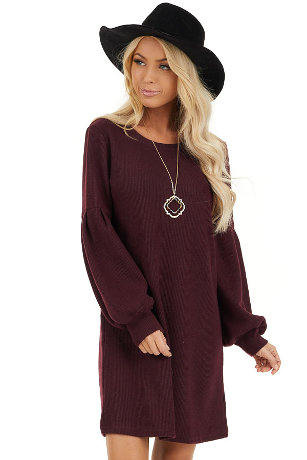 Plum Ribbed Mini Dress with Long Bubble Sleeves front close up