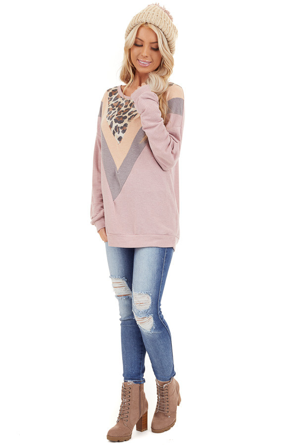 Mauve and Leopard Print V Striped Long Sleeve Top front full body