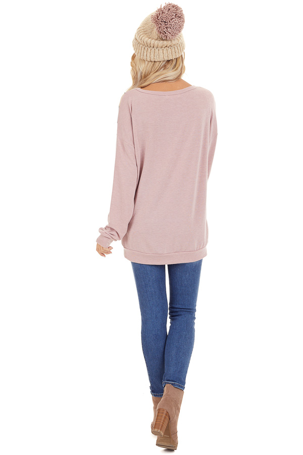 Mauve and Leopard Print V Striped Long Sleeve Top back full body