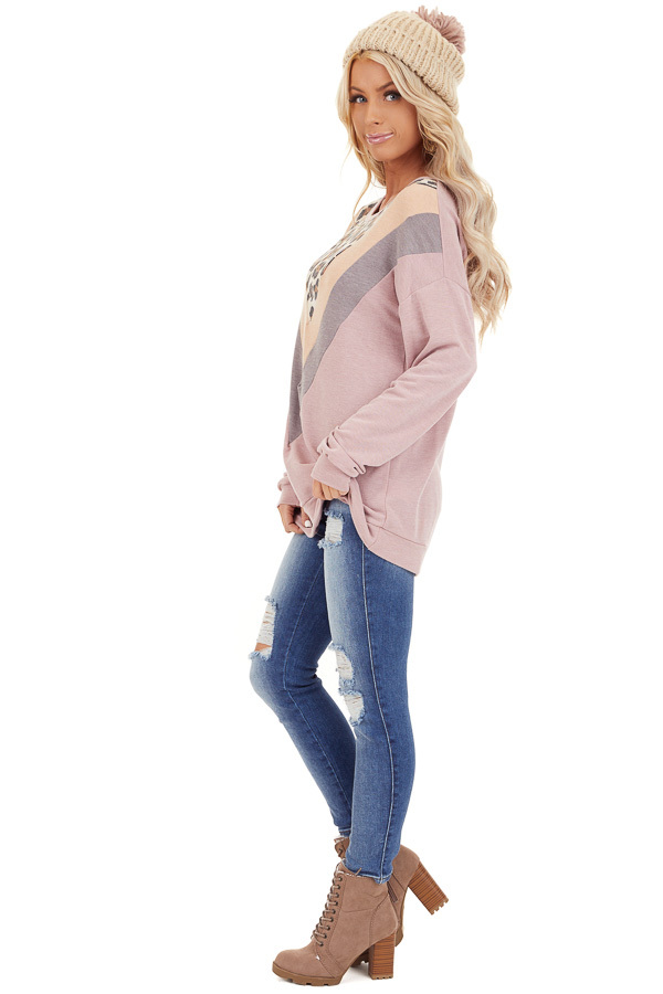 Mauve and Leopard Print V Striped Long Sleeve Top side full body