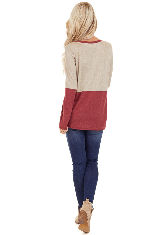 Oatmeal and Scarlet Color Block Top with Front Tie Detail back full body
