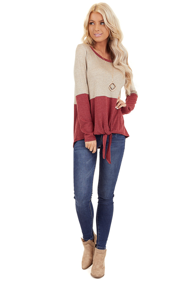 Oatmeal and Scarlet Color Block Top with Front Tie Detail front full body
