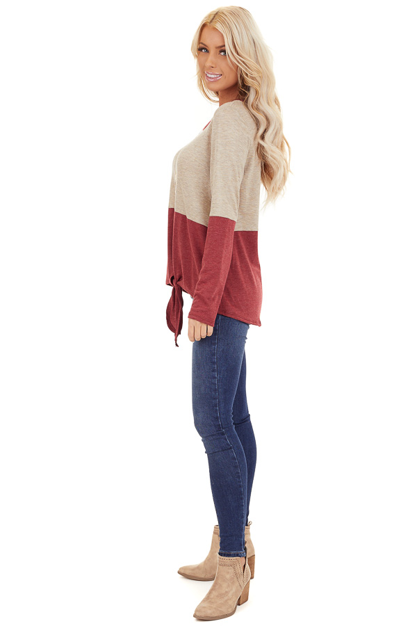 Oatmeal and Scarlet Color Block Top with Front Tie Detail side full body