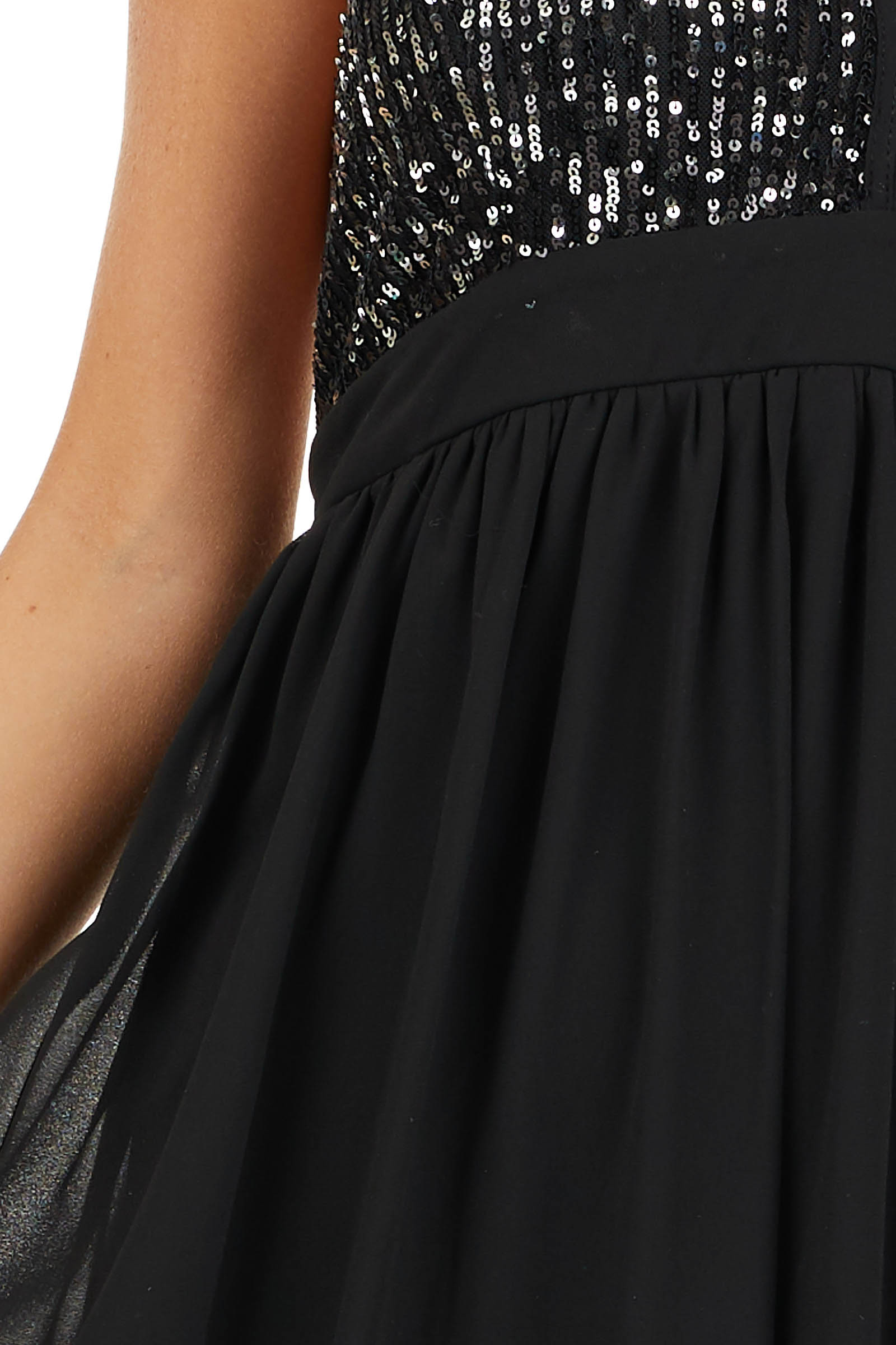 Black Sleeveless Halter Maxi Dress with Sequined Bodice detail