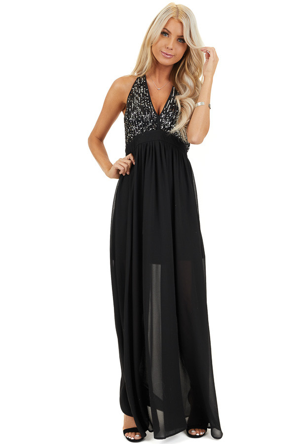 Black Sleeveless Halter Maxi Dress with Sequined Bodice front full body