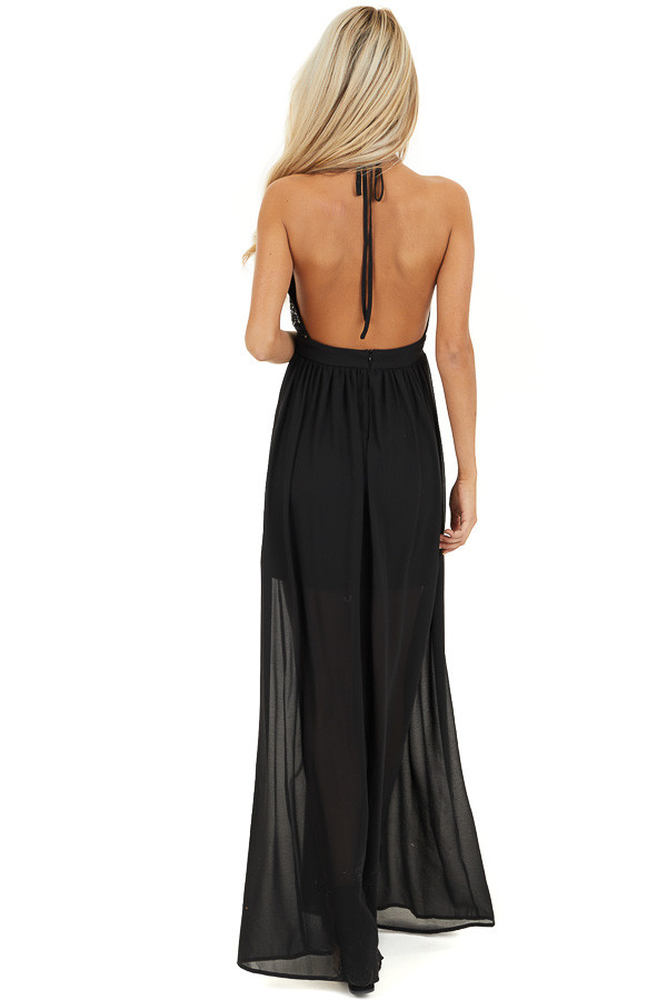 Black Sleeveless Halter Maxi Dress with Sequined Bodice back full body