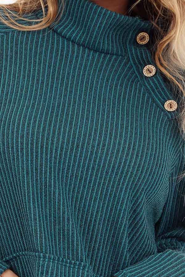 Pine Green Ribbed Knit Mock Neck Top with Button Detail detail