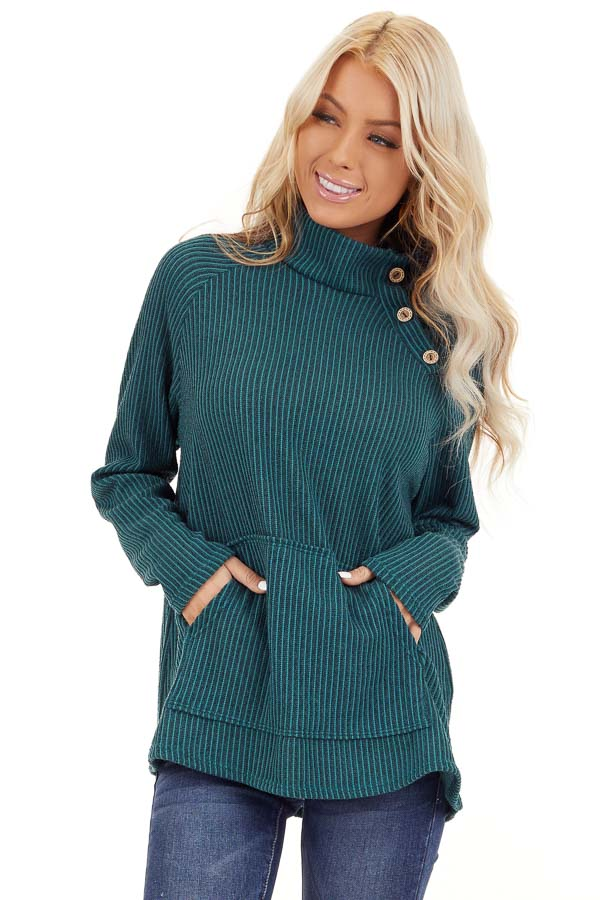 Pine Green Ribbed Knit Mock Neck Top with Button Detail front close up