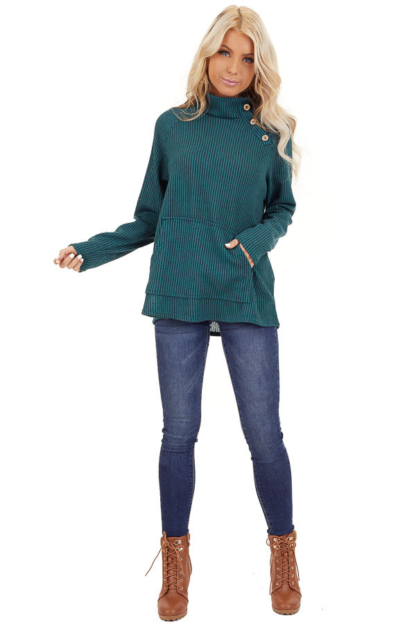 Pine Green Ribbed Knit Mock Neck Top with Button Detail front full body