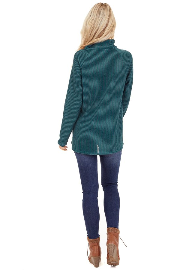 Pine Green Ribbed Knit Mock Neck Top with Button Detail back full body