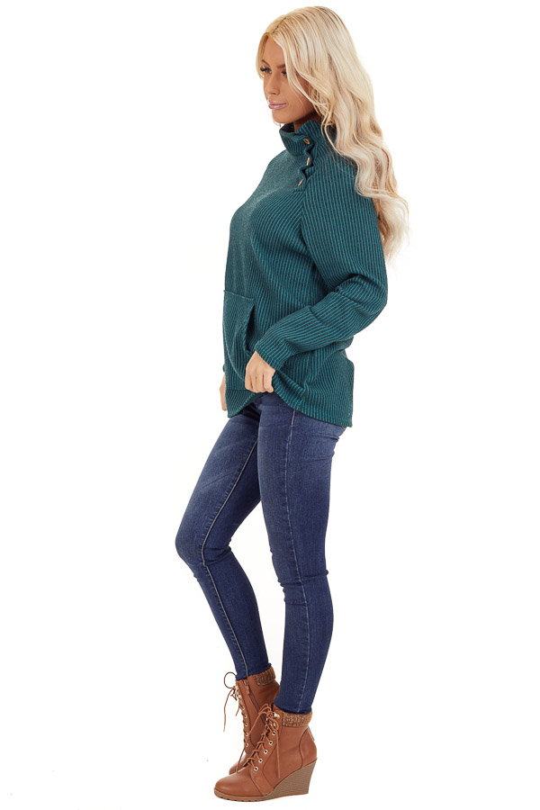 Pine Green Ribbed Knit Mock Neck Top with Button Detail side full body