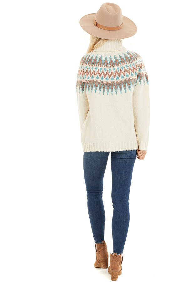 Ivory Multi Colored Patterned Knit Turtleneck Sweater back full body