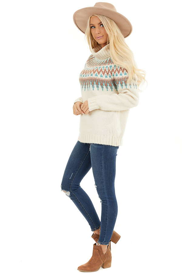 Ivory Multi Colored Patterned Knit Turtleneck Sweater side full body
