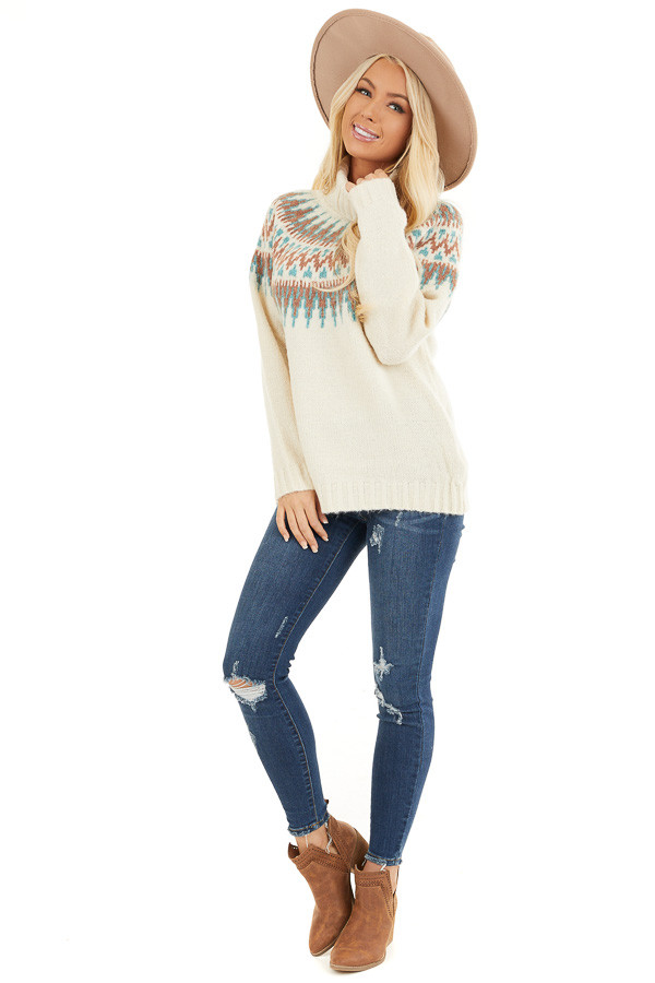 Ivory Multi Colored Patterned Knit Turtleneck Sweater front full body