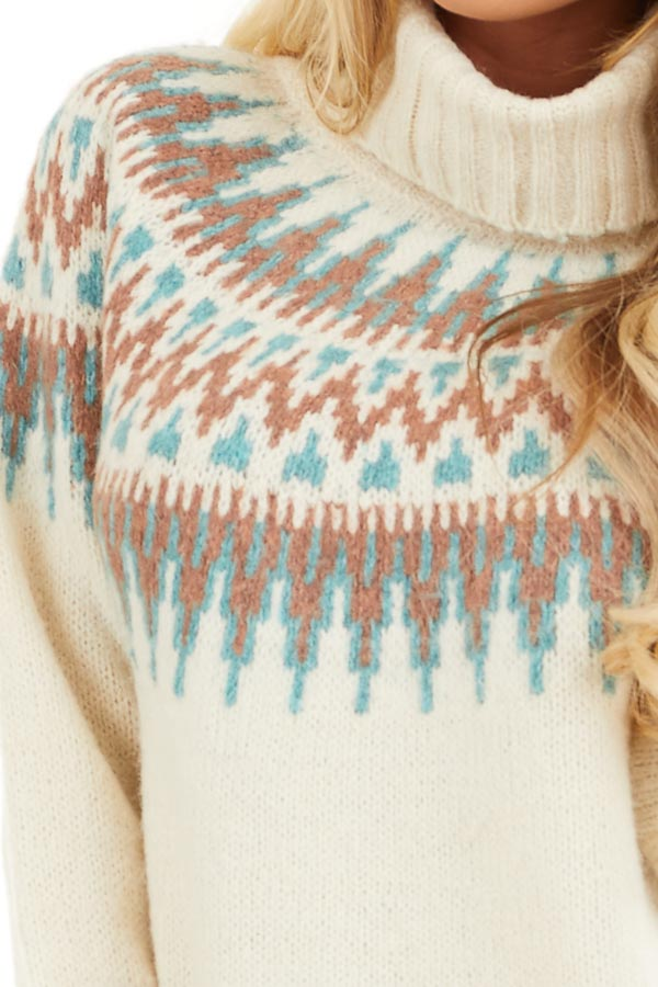 Ivory Multi Colored Patterned Knit Turtleneck Sweater detail