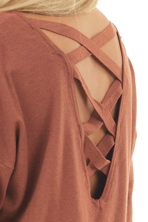 Tawny V Neck Top with Criss Cross Back Detail