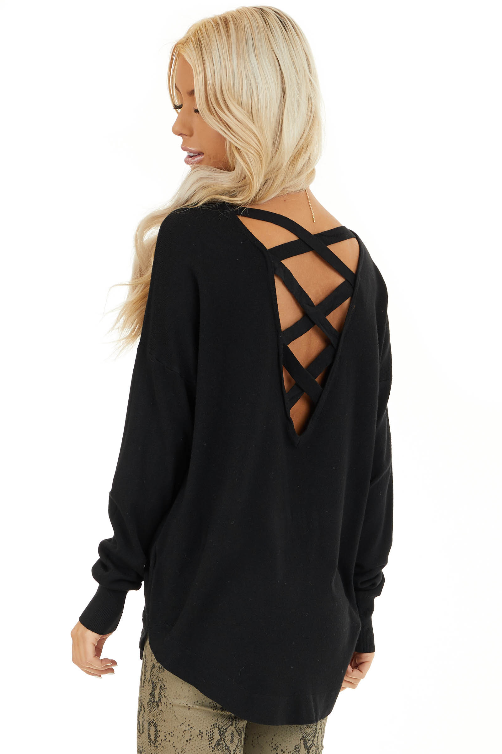 Black V Neck Top with Criss Cross Back Detail back side close up