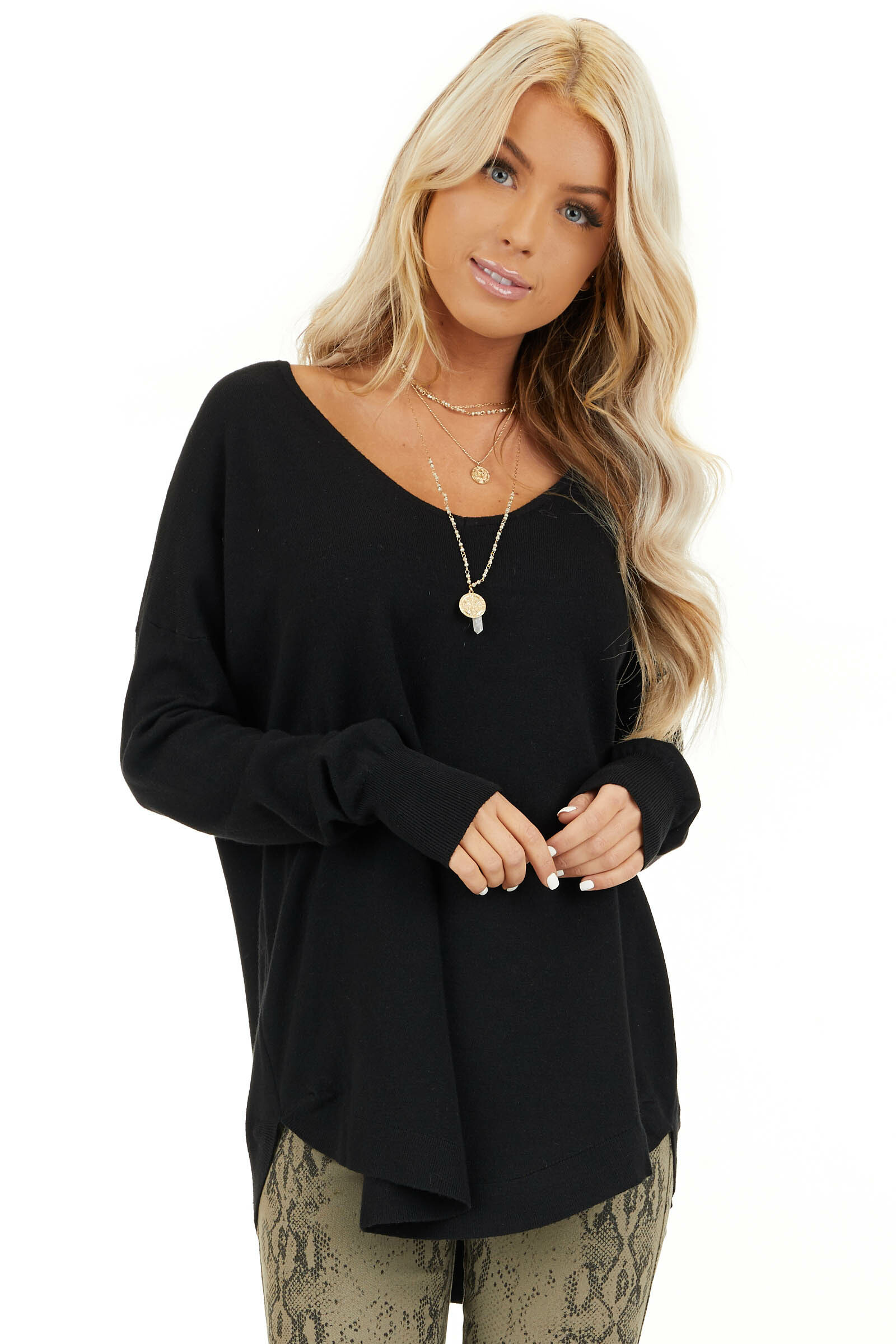 Black V Neck Top with Criss Cross Back Detail front close up