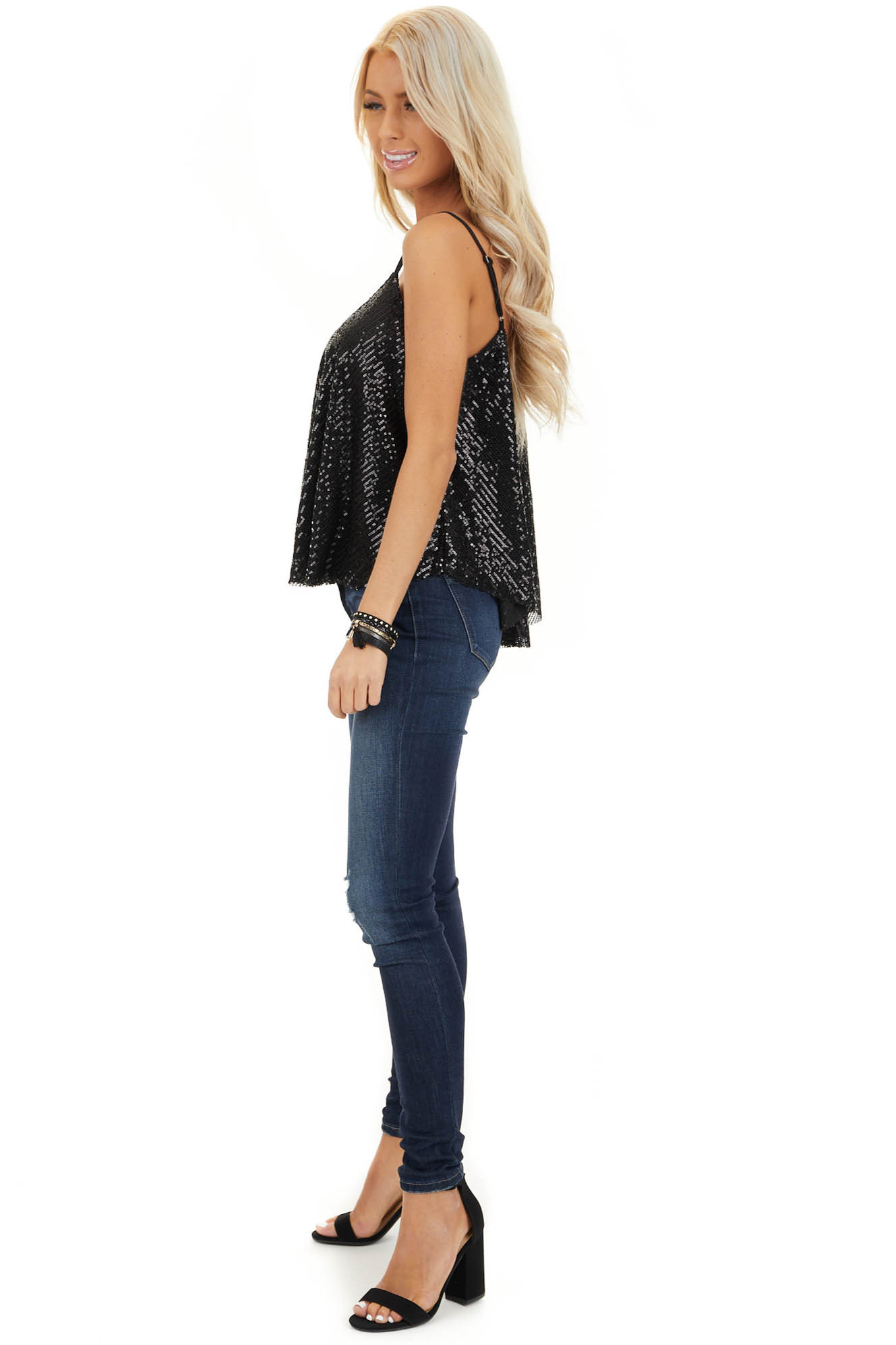 Black Sequin Cami Top with Adjustable Spaghetti Straps side full body