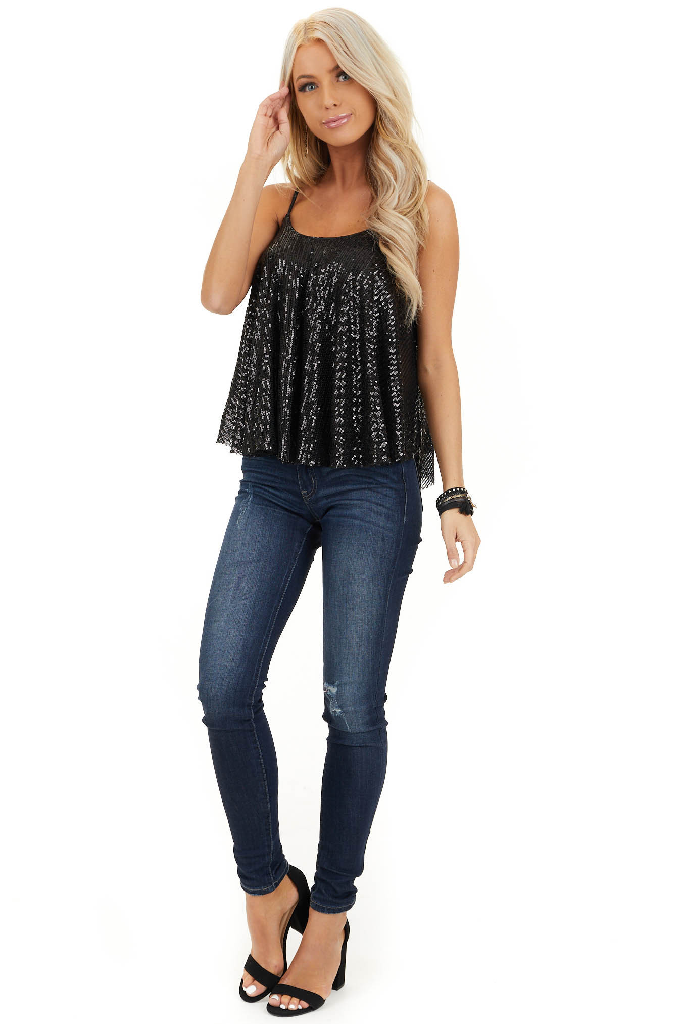 Black Sequin Cami Top with Adjustable Spaghetti Straps front full body